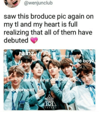 "Saw, Chinese, and Heart: @wenjunclub  saw this broduce pic again orn  my tl and my heart is full  realizing that all of them have  debuted  wanna one  he bo  ni also nine percent is a chinese group formed by the show, ""idol producer"" :)"