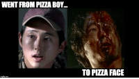 Meme, Pizza, and The Walking Dead: WENT FROM PLZABOY  imgflip.com  TO PIZZA FACE