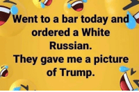 Today, Trump, and White: Went to a bar today and  ordered a White  Russian.  They gave me a picture  of Trump