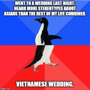 Life, Wedding, and Vietnamese: WENT TO A WEDDING LAST NIGHT;  HEARD MORE STEREOTYPES ABOUT  ASIANS THAN THE REST OF MY LIFE COMBINED.  VIETNAMESE WEDDING  imgflip.com The stronger the accent, the more pungent the stereotype.