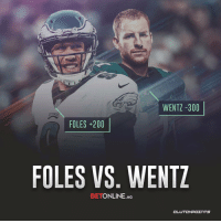 Bailey Jay, Philadelphia Eagles, and Nfl: WENTZ -300  FOLES 200  FOLES VS. WENTZ  BETONLINE.AG You can now bet on whether Nick Foles or Carson Wentz will start for the Eagles in Week 1 this coming season 👀 https://t.co/bwD9Mc9uvT