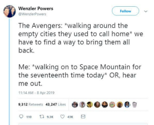 No fast passes needed: Wenzler Powers  @WenzlerPowers  Follow  The Avengers: *walking around the  empty cities they used to call home* we  have to find a way to bring them all  back.  Me: *walking on to Space Mountain for  the seventeenth time today* OR, hear  me out.  11:14 AM -8 Apr 2019  9,312 Retweets 43,247 Likes  110 9.3K 43K No fast passes needed