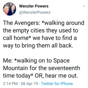 Hear me out: Wenzler Powers  @WenzlerPowers  The Avengers: *walking around  the empty cities they used to  call home* we have to find a  way to bring them all back  Me: *walking on to Space  Mountain for the seventeenth  time today* OR, hear me out.  2:14 PM 08 Apr 19 Twitter for iPhone Hear me out