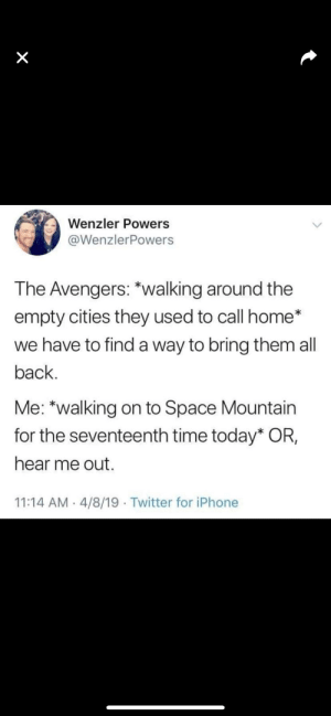 Thank You, Thanos.: Wenzler Powers  @WenzlerPowers  The Avengers: *walking around the  empty cities they used to call home*  we have to find a way to bring them all  back  Me: *walking on to Space Mountain  for the seventeenth time today* OR,  hear me out.  11:14 AM 4/8/19 Twitter for iPhone Thank You, Thanos.