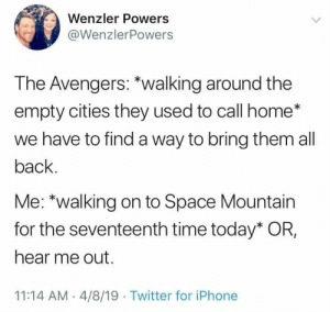 #ThanosDidNothingWrong: Wenzler Powers  @WenzlerPowers  The Avengers: *walking around the  empty cities they used to call home*  we have to find a way to bring them all  back  Me: *walking on to Space Mountain  for the seventeenth time today* OR,  hear me out.  11:14 AM 4/8/19 Twitter for iPhone #ThanosDidNothingWrong