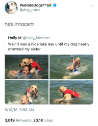 "Memes, Pictures, and Nice: WeRateDogsTM  @dog_rates  he's innocent  Holly M @Holly_Monson  Well it was a nice lake day until my dog nearly  drowned my sister  6/10/18, 9:56 AM  3,619 Retweets 20.1K Likes <p>Potential memes can be made from the second and third pictures. Buy via /r/MemeEconomy <a href=""https://ift.tt/2JClbar"">https://ift.tt/2JClbar</a></p>"