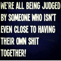 memes: WERE ALL BEING JUDGED  BY SOMEONE WHO ISNT  EVEN CLOSE TO HAVING  THEIR OWN SHIT  TOGETHER!