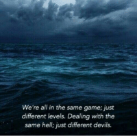 Game, Hell, and All: We're all in the same game; just  different levels. Dealing with the  same hell: just different devils.