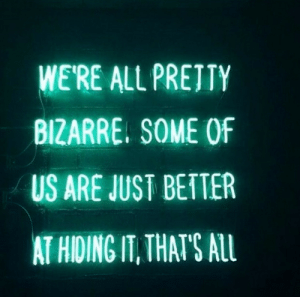 Bizarre, All, and Alu: WE'RE ALL PRETTY  BIZARRE. SOME OF  US ARE JUST BETTER  AT HIDING IT, THATS ALU