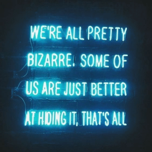 Bizarre, All, and Just: WE'RE ALL PRETTY  BIZARRE. SOME OF  US ARE JUST BETTER  AT HIDING IT, THATS ALL