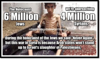 were approaching  The Holocaust  6 Million  4 Million  Syrians  Jews  #Freethinker UniteHForChang  During the holocaust of the Jews we said Never Again  but this war in Syriais because Arab StatesWontstand  up to israel's slaughter of Palestinians.