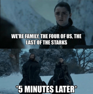 Bad, Family, and Gameofthrones: WE'RE FAMILY, THE FOUR OF US, THE  LAST OF THE STARKS  5 MINUTES LATER This episode was so bad 🙈😂 #GameofThrones https://t.co/Tny4b22xUi