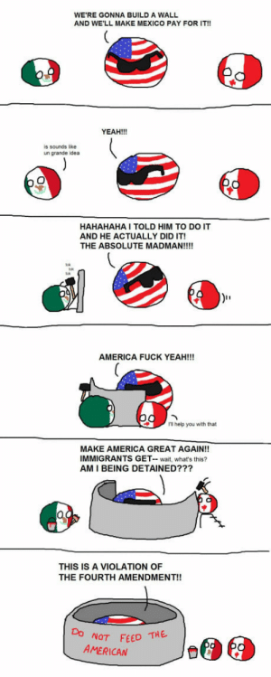 Eleventh Meme: WE'RE GONNA BUILD A WALL  AND WE'LL MAKE MEXICO PAY FOR IT!!  YEAH!!!  is sounds like  un grande idea  HAHAHAHA I TOLD HIM TO DO IT  AND HE ACTUALLY DID IT!  THE ABSOLUTE MADMAN!!!!  AMERICA FUCK YEAH!!!  1 help you with that  MAKE AMERICA GREAT AGAIN!!  IMMIGRANTS GET- wait, what's this?  AM I BEING DETAINED???  THIS IS A VIOLATION OF  THE FOURTH AMENDMENT!!  NOT FEED THE  AMERICAN Eleventh Meme