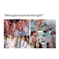 """Memes, 🤖, and Greysanatomy: """"We're gonna survive this right?""""  MERE  ONNA Ugh my faves 😩😩😩😩💘 greysanatomy"""