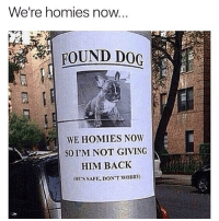 Memes, Back, and 🤖: Were homies n  oW...  WE HOMIES NOW  SOI'M NOT GIVING  HIM BACK  HES SAFE.DON'T WORRY 😂Classic
