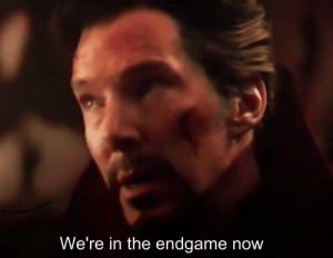 "Parents, Avengers, and Infinity: We're in the endgame now In Avenger's Infinity War (2018) I couldnt hear Dr Strange saying ""we're in the endgame now"" because my parents were fighting."