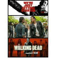 Memes, 🤖, and Amc: WERE  JUSST  128 aMC  THE  WALKING DEAD  RETURNS  aMC  FEBRUARY Woo Hoo! The Walking Dead Season 7 continues tomorrow night!! Negan making himself all comfortable in Rick's hood, Carl was a killer pirate and Daryl *sigh* is just plain awesome😎😎 twd thewalkingdead walkingdead walkers zombies negan rick daryl ripglenn ripabraham lucille amc season7 talkingdead normanreedus andrewlincoln jeffreydeanmorgan partner @thought_criminals