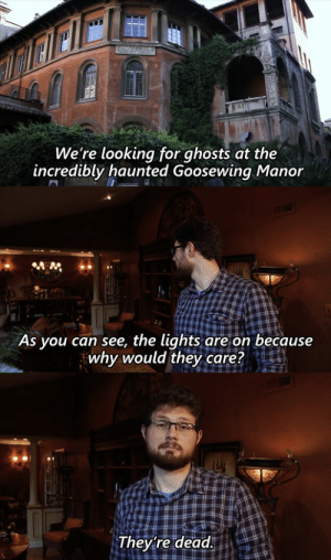 He Raises a Good Point: We're looking for ghosts at the  incredibly haunted Goosewing Manor  As you can see, the lights are on because  why would they care?  They're dead. He Raises a Good Point