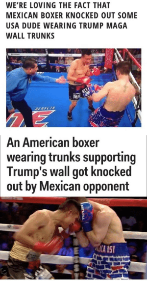 "iztac-coatl: His name is Francisco ""El Bandido"" Vargas: WE'RE LOVING THE FACT THAT  MEXICAN BOXER KNOCKED OUT SOME  USA DUDE WEARING TRUMP MAGA  WALL TRUNKS   An American boxer  wearing trunks supporting  Trump's wall got knocked  out by Mexican opponent  ME A IST iztac-coatl: His name is Francisco ""El Bandido"" Vargas"