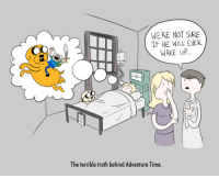 Were Not Sure: WERE NOT SURE  IF HE WILL EVER  WAKE U.P.  The terrible truth behind Adventure Time.
