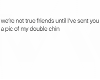 Friends, Memes, and True: we're not true friends until I've sent you  a pic of my double chin tag your friends