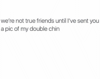 chins: we're not true friends until I've sent you  a pic of my double chin