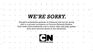 cosmic-noir:  etoapia:  kiltyascharged:  starwhal:  heyyo-sam:  out-of-my-interest:  Clarence  Proud of Cartoon Network for taking action so quickly.  wait what happened  The creator of Clarence sexually harassed a female storyboard artist. They kicked him to the curb and he's no longer allowed in the studio   good job, CN   : WE'RE SORRY.  Tonight's scheduled episode of Clarence will not be airing  due to a private occurence at Cartoon Network Studios.  Visit www.carfoonnėtwork.com to watch clips and play games +  from your favorite shows in the meantime.  CARTOON NETWORK cosmic-noir:  etoapia:  kiltyascharged:  starwhal:  heyyo-sam:  out-of-my-interest:  Clarence  Proud of Cartoon Network for taking action so quickly.  wait what happened  The creator of Clarence sexually harassed a female storyboard artist. They kicked him to the curb and he's no longer allowed in the studio   good job, CN