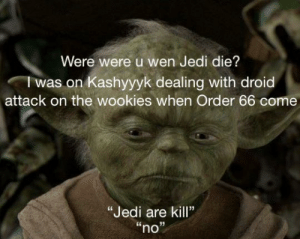 """cries in cheap chewy cameo: Were were u wen Jedi die?  I was on Kashyyyk dealing with droid  attack on the wookies when Order 66 come  """"Jedi are kill""""  """"no"""" cries in cheap chewy cameo"""