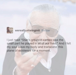 "Stan, Stan Lee, and Soul: werealljustwinginit Follow  I just read ""Stan's greatest cameo was the  small part he played in all of our lives."" And I felt  my soul leave my body and transcend this  plane of existence for a moment. Stan Lees greatest cameo"