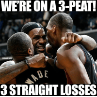Nba, Miami, and Chrono: WEREONAa-PEAT!  @NBAMEMES  DE  a STRAIGHT LOSSES That awkward moment when you realize...The Miami Heat DID #3Peat! Credit: Julz Chrono