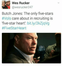 Lol: Wes Rucker  @wesrucker 247  Butch Jones: The only five-stars  Vols  care about in recruiting is  'five-star heart'  bit.ly/2kZjqVg  Lol