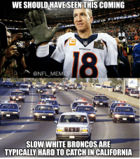 Broncos, Typical, and Typically: WESHOULDHAVEISEENTHISCOMING  @NFL MEMES  SLOW WHITE BRONCOS ARE  TYPICALLY HARD TO  IN CALIFORNIA True.