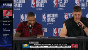 """Let me say something real quick.""   Meyers Leonard has a message for naysayers and critics saying Damian Lillard should have been more productive in this series.    (Via @NBATV)  https://t.co/Je9KHzs6No: WESIEKIN  WESIEKN  VWESILKI  WLOIL  FINALS  SPLAYOIES FINALS FINAS  FINALS  IDA  NBA  NBA  @NBA  @NBA  @NBA  LILLARD &  LEONARD  FINALS  NBA  COMING UP..  CJ  McCOLLUM  @NBA  ERN WE  KLAY  THOMPSON  STEPHEN  CURRY  NBA  WEST FINALS  WARRIORS DEFEAT TRAIL BLAZERS 119-117/OT  GSW WINS SERIES 4-0  WILL FACE ECF WINNER IN NBA FINALS ""Let me say something real quick.""   Meyers Leonard has a message for naysayers and critics saying Damian Lillard should have been more productive in this series.    (Via @NBATV)  https://t.co/Je9KHzs6No"