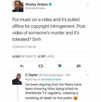 That dark white skin man (fox description - swipe) is still on the loose but if you put up a post raising awareness of the situation then it gets deleted by Instagram. Wtf fam? This guy's out here shooting and the police can't catch him for over 24 hours yet my post this morning got deleted. Someone's not doing their job. What did I do @instagram? 🤷♂️ - - 🚨FOLLOW: @whypree_tho_vip & @whypree_tv ⚠️ for more 🆘🔥‼️: Wesley Snipes  @wesley snipes  Put music on a video and it's pulled  offline for copyright infringement. Post  video of someone's murder and it's  tolerated? Smh  17/04/2017, 05:48  4,303  RETWEETS 4,787  LIKES  C. Taylor  @TheClaudeTaylor 13h  Replying to @wesleysnipes  Ive been arguing that the News have  been showing folks being killed on  Worldwide TV regularly. creating a  numbing of death to the public That dark white skin man (fox description - swipe) is still on the loose but if you put up a post raising awareness of the situation then it gets deleted by Instagram. Wtf fam? This guy's out here shooting and the police can't catch him for over 24 hours yet my post this morning got deleted. Someone's not doing their job. What did I do @instagram? 🤷♂️ - - 🚨FOLLOW: @whypree_tho_vip & @whypree_tv ⚠️ for more 🆘🔥‼️