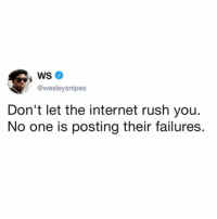 Internet, Meme, and Memes: @wesleysnipes  Don't let the internet rush you.  No one is posting their failures. *A wild positive meme appears* straight 📠 tho. Keep grinding yall 🙌🏻