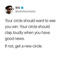 Memes, News, and Good: @wesleysnipes  Your circle should want to see  you win. Your circle should  clap loudly when you have  good news.  If not, get a new circle. ☝🏾💯
