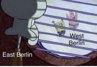 Berlin, Looking, and Berlin Wall: West  Berlin  East Berlin German citizen looking at his cousins across berlin through a rupture in the berlin wall (circa 1961, colorized 1989)