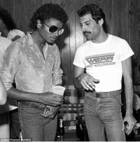 Michael Jackson, Tumblr, and Blog: WEST HOLLYWOOD  Neal PrestonCORBIS coolkidsofhistory:  Freddie Mercury and Michael Jackson, 1982
