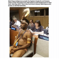 Memes, New York, and Empathy: West Papua indigenous people the Ngalum Uropkulin and Kasipka  Tribes of Star Mountain Area with Koteka at UN Headquarters in New  York, USA May 2017. This is the first time in history West Papua with  Koteka at UNITED NATIONS.  lB9JA  TUNISIA Repost @chakabars ・・・ Yeeeeeeeees!!!! Be proud of your culture, don't try to fit other people's standards. Big up to all of the people from West Papua, I met your leader when he came to the Rastafari march for reparations in London last year. I feel so sad when I hear that you are still facing a genocide, carried out by the Indonesian government for your lands, they want your gold and other minerals. 500,000 west papuans have been murdered since 1961... Nobody talks about it. Shout out to all of the indigenous people everywhere. chakabars ••• 🎯🙏🌍 wakeup indigenousrights indigenous indigenouspride humanity empathy selflove selfappreciation knowthyself knowledgeofself prayfortheworld stepnicely5
