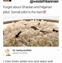 Memes, 🤖, and Rice: Westafrikanman  Forget about Ghanian and Nigerian  jollof, Somali jollof is the best  KA IG: bettyvonlittle  @betty vonlittle  l mao thats white rice and aabo jedi How adorable 😂😂