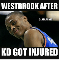 "Nba, Deep, and Tap: WESTBROOK AFTER  NBA MEMES  KD GOT INJURED ""This wouldn't have happened if you stayed in OKC"" 😂😂 Lol that's kinda messed up but ya know deep in Westbrook's heart he had to at least smirk when he heard the news 😏💀 Double tap and tag some friends below! 👍⬇"