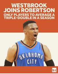 Westbrook is guaranteed to end the season averaging a triple-double after his 6th assist. #MrTripleDouble: WESTBROOK  JOINS ROBERTSON  ONLY PLAYERS TO AVERAGE A  TRIPLE-DOUBLE IN A SEASON  KLAHOM  CITY  br Westbrook is guaranteed to end the season averaging a triple-double after his 6th assist. #MrTripleDouble
