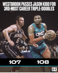 History, Kidd, and Jason Kidd: WESTBROOKPASSES JASON KIDD FOR  3RD-MOST CAREER TRIPLE-DOUBLES  NEWWR  107  108  B-R History for The Brodie 😤