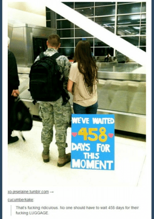 Fucking, Omg, and Tumblr: WEVE WAITED  158  DAYS FOR  THIS  MOMENT  xoceselainetumbir com-  That's fucking ridiculous. No one should have to wait 458 days for their  fucking LUGGAGE. Such a long waitomg-humor.tumblr.com