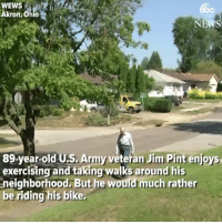 "Memes, Police, and Army: WEWS  Akron, Ohio  bc  89-year-old U.S. Army veteran Jim Pint enjoys  exercising and taking walks around his  neighborhood. But he would much rather  be riding his bike. Police officers give an 89-year-old U.S. Army veteran a new bicycle after his was stolen: ""I'm very thankful."" https://t.co/UFiIaAjZtJ"