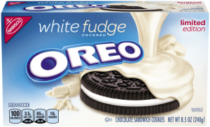 Best: wh ite f ud ge  limi te d  ed iti o n  CO  E RE  SANDWI & HE  NET WT 8.5 OZ (240g)  ENL SERATO  O white fudge  limited  edition  COVERED  OREO  PER 1 COOKIE  ENLARGED TO  SHOW DETAIL  100| 3.5, | 65mg  10g  SUGARS  SODIUM  SAT FAT  OD CHOCOLATE SANDWICH COOKIES NET WT 8.5 OZ (240g)  CALORIES  18% DV  3% DV  NABISCO Best