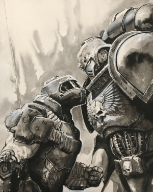 wh40kartwork: art-of-thomas-elliott: Doom Guy VS Space Marine. Who would Win?  Doom Guy VS Space Marine  by                   Thomas Elliott    Doom Slayer wins. : wh40kartwork: art-of-thomas-elliott: Doom Guy VS Space Marine. Who would Win?  Doom Guy VS Space Marine  by                   Thomas Elliott    Doom Slayer wins.