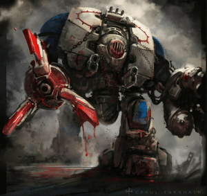 wh40kartwork:  World Eaters Dreadnought  by Paul Takahashi : wh40kartwork:  World Eaters Dreadnought  by Paul Takahashi