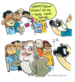 sketchshark:  A camera shy guy. : WHAAL8 Rour  PHoto OH No,  HATE tHESE  thiNgs.  SKETCHSHARK.TUMBLR.CoM sketchshark:  A camera shy guy.