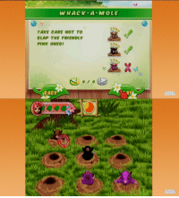 Black, Game, and Mole: WHACK-A-MOLE  TAKE CARE NOT TO  LAP THE FRIENDLY  PINK ONES  BACK  GAME  CROMPS  AME  GRUMPS